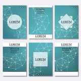 Set of business templates for brochure, flyer, cover magazine in A4 size. Structure molecule DNA and neurons. Geometric. Abstract background. Medicine, science Royalty Free Stock Photos