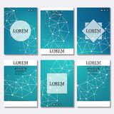Set of business templates for brochure, flyer, cover magazine in A4 size. Structure molecule DNA and neurons. Geometric. Abstract background. Medicine, science stock illustration