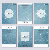 Set of business templates for brochure, flyer, cover magazine in A4 size. Structure molecule DNA and neurons. Geometric. Abstract background. Medicine, science Royalty Free Stock Photography