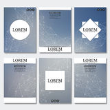Set of business templates for brochure, flyer, cover magazine in A4 size. Structure molecule DNA and neurons. Geometric. Abstract background. Medicine, science Royalty Free Stock Image
