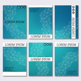 Set of business templates for brochure, flyer, cover magazine in A4 size. Structure molecule DNA and neurons. Geometric abstract background. Medicine, science vector illustration