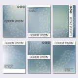 Set of business templates for brochure, flyer, cover magazine in A4 size. Structure molecule DNA and neurons. Geometric abstract background. Medicine, science stock illustration