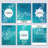 Set of business templates for brochure, flyer, cover magazine in A4 size.. Structure molecule DNA and neurons. Geometric abstract background. Medicine, science Royalty Free Stock Photography