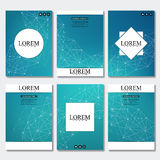 Set of business templates for brochure, flyer, cover magazine in A4 size.. Structure molecule DNA and neurons. Geometric abstract background. Medicine, science Royalty Free Stock Image