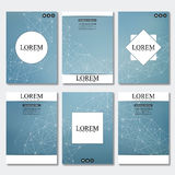 Set of business templates for brochure, flyer, cover magazine in A4 size. Structure molecule DNA and neurons. Geometric. Abstract background. Medicine, science royalty free illustration