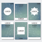 Set of business templates for brochure, flyer, cover magazine in A4 size. Structure molecule DNA and neurons. Geometric. Abstract background. Medicine, science Stock Photography