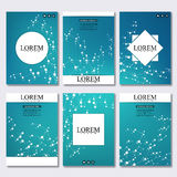 Set of business templates for brochure, flyer, cover magazine in A4 size. Structure molecule DNA and neurons. Geometric. Abstract background. Medicine, science Royalty Free Stock Photo