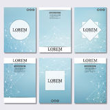 Set of business templates for brochure, flyer, cover magazine in A4 size. Structure molecule DNA and neurons. Geometric. Abstract background. Medicine, science Royalty Free Stock Images