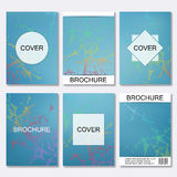 Set of business templates for brochure, flyer, cover magazine in A4 size. Structure molecule DNA and neurons. Geometric Royalty Free Stock Images