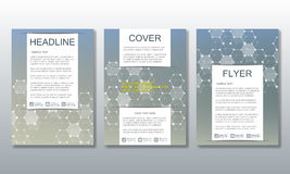 Set of business templates for brochure, flyer, cover magazine in A4 size. Structure molecule DNA and neurons. Geometric Royalty Free Stock Photography