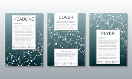 Set of business templates for brochure, flyer, cover magazine in A4 size. Structure molecule DNA and neurons. Geometric Royalty Free Stock Photos