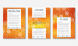 Set of business templates for brochure, flyer, cover magazine in A4 size. Structure molecule of DNA and neurons. Geometric abstract background. Medicine Royalty Free Stock Photos