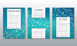 Set of business templates for brochure, flyer, cover magazine in A4 size. Structure molecule of DNA and neurons. Geometric abstract background. Medicine vector illustration