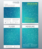 Set of business templates for brochure, flyer, cover magazine in A4 size. Structure molecule DNA and neurons. Geometric Royalty Free Stock Photo