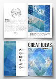 Set of business templates for brochure, magazine, flyer, booklet or annual report. Abstract blue polygonal background. Colorful backdrop, modern stylish vector Royalty Free Stock Image