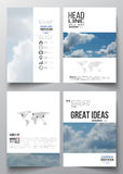 Set of business templates for brochure, magazine, flyer, booklet or annual report. Beautiful blue sky, abstract. Background with white clouds, leaflet cover stock illustration