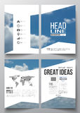 Set of business templates for brochure, magazine, flyer, booklet or annual report. Beautiful blue sky, abstract. Background with white clouds, leaflet cover royalty free illustration