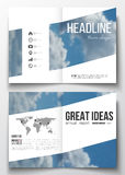 Set of business templates for brochure, magazine, flyer, booklet or annual report. Beautiful blue sky, abstract background with white clouds, leaflet cover royalty free illustration