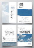 Set of business templates for brochure, magazine, flyer, booklet or annual report. Beautiful blue sky, abstract background with white clouds, leaflet cover vector illustration