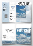 Set of business templates for brochure, magazine, flyer, booklet or annual report. Beautiful blue sky, abstract. Background with white clouds, leaflet cover vector illustration