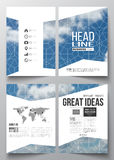 Set of business templates for brochure, magazine, flyer, booklet or annual report. Beautiful blue sky, abstract. Geometric background with white clouds, leaflet Royalty Free Stock Image
