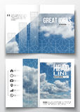 Set of business templates for brochure, magazine, flyer, booklet or annual report. Beautiful blue sky, abstract. Geometric background with white clouds, leaflet Royalty Free Stock Photos