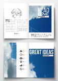 Set of business templates for brochure, magazine, flyer, booklet or annual report. Beautiful blue sky, abstract. Geometric background with white clouds, leaflet Royalty Free Stock Photo