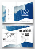 Set of business templates for brochure, magazine, flyer, booklet or annual report. Beautiful blue sky, abstract. Geometric background with white clouds, leaflet Stock Photos