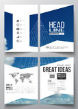Set of business templates for brochure, magazine, flyer, booklet or annual report. Beautiful blue sky, abstract. Geometric background with white clouds, leaflet Stock Photo