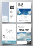 Set of business templates for brochure, magazine, flyer, booklet or annual report. Beautiful blue sky, abstract. Geometric background with white clouds, leaflet Royalty Free Stock Images