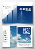 Set of business templates for brochure, magazine, flyer, booklet or annual report. Beautiful blue sky, abstract. Geometric background with white clouds, leaflet Stock Image