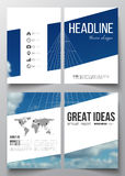 Set of business templates for brochure, magazine, flyer, booklet or annual report. Beautiful blue sky, abstract. Geometric background with white clouds, leaflet Stock Photography