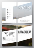 Set of business templates for brochure, magazine, flyer, booklet or annual report. Blurred image, urban landscape. Cityscape, modern texture stock illustration