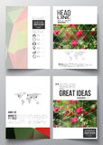 Set of business templates for brochure, magazine, flyer, booklet or annual report.. Colorful polygonal floral background, blurred image, red flowers on green Royalty Free Stock Photo