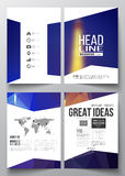 Set of business templates for brochure, magazine, flyer, booklet or annual report. Dark polygonal background, blurred. Image, night city landscape, Paris Stock Images