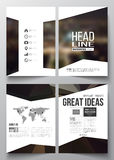 Set of business templates for brochure, magazine, flyer, booklet or annual report. Dark polygonal background, blurred Stock Images
