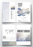 Set of business templates for brochure, magazine, flyer, booklet or annual report. DNA molecule structure on a blue Royalty Free Stock Image