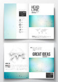 Set of business templates for brochure, magazine, flyer, booklet or annual report. Molecular construction with connected Stock Images