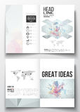 Set of business templates for brochure, magazine, flyer, booklet or annual report. Molecular construction with connected Royalty Free Stock Photo