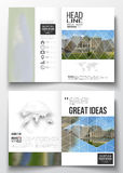 Set of business templates for brochure, magazine, flyer, booklet or annual report. Polygonal background, blurred image Stock Photos