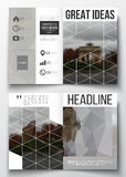 Set of business templates for brochure, magazine, flyer, booklet or annual report. Polygonal background, blurred image Stock Images