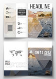 Set of business templates for brochure, magazine, flyer, booklet or annual report. Polygonal background, blurred image Royalty Free Stock Image