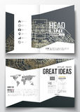 Set of business templates for brochure, magazine, flyer, booklet. Round golden technology pattern on dark background Royalty Free Stock Photo