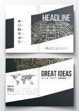 Set of business templates for brochure, magazine, flyer. Round golden technology pattern, dark background, mandala Stock Image