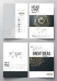 Set of business templates for brochure, magazine, flyer. Round golden technology pattern, dark background, mandala Royalty Free Stock Photo