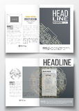 Set of business templates for brochure, magazine, flyer. Round golden technology pattern, dark background, mandala Stock Photo