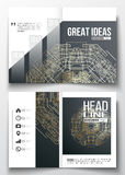 Set of business templates for brochure, magazine, flyer. Round golden technology pattern, dark background, mandala Royalty Free Stock Photography