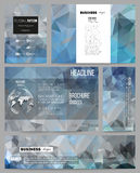 Set of business templates for presentation, brochure, flyer or booklet. Abstract blue polygonal background, colorful. Backdrop, modern stylish vector texture Royalty Free Stock Photo