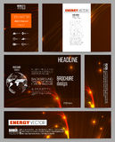 Set of business templates for presentation, brochure, flyer or booklet. Abstract lines background, dynamic glowing Stock Image
