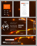 Set of business templates for presentation, brochure, flyer or booklet. Abstract lines background, dynamic glowing Stock Photo